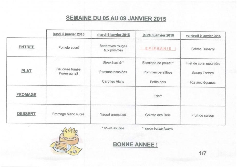 Cantine Scolaire Les Menus De La Semaines Du 5 Au 9 Janvier 2015